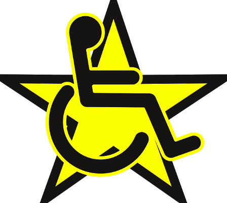 Yellow star with wheelchair symbol on top symbolizing a differently abled celebrity