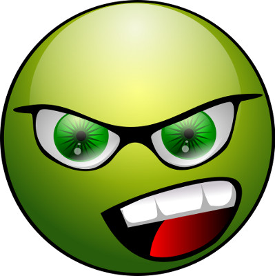 green angry face representing wrongs